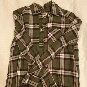 Express olive green flannel top